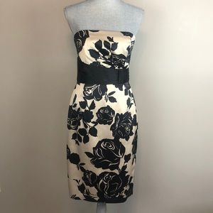 WHBM Black & Champaign Floral Cocktail Dress